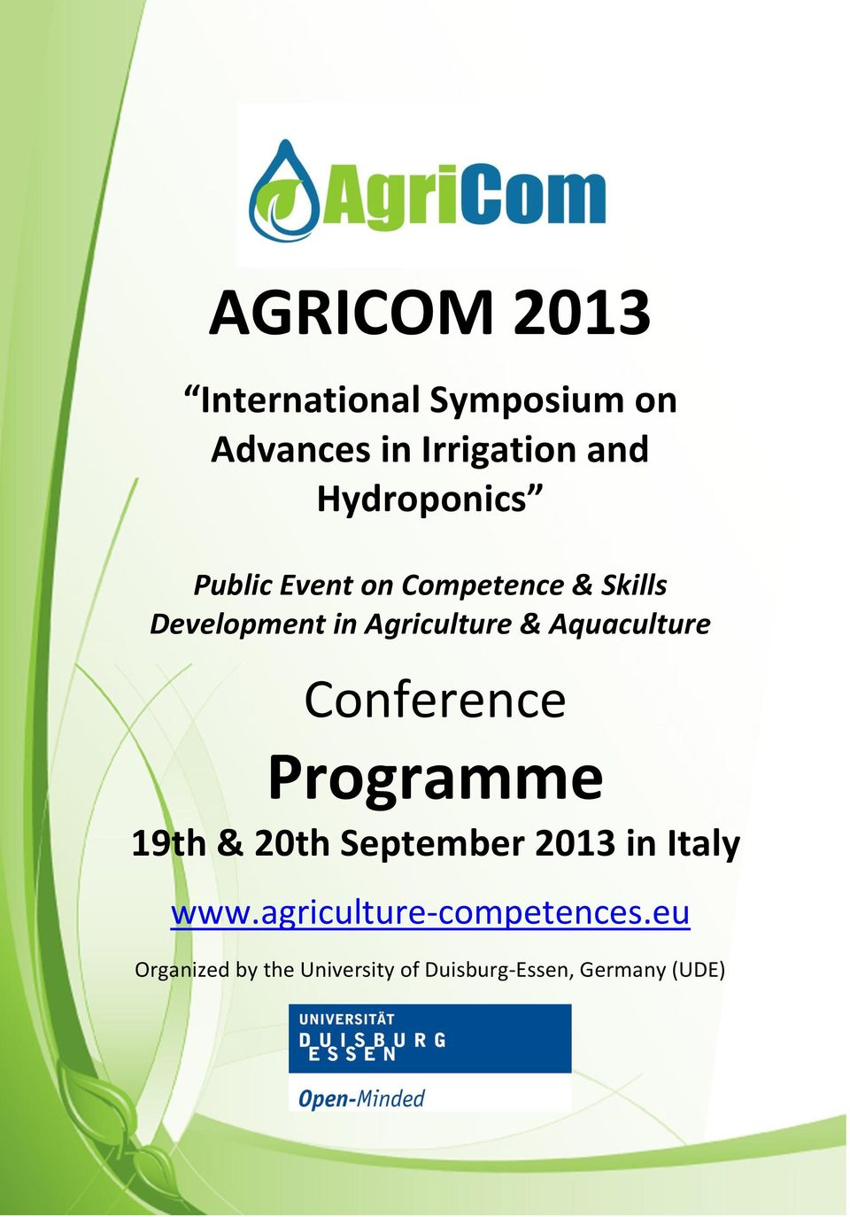 20th September 2013 in Italy www.agriculture-competences.