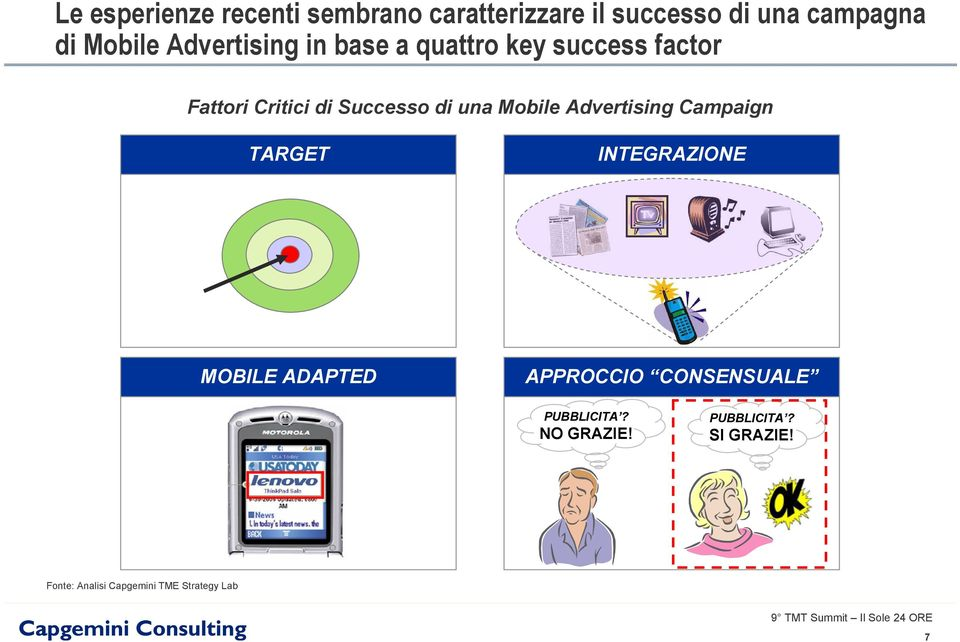 Mobile Advertising Campaign TARGET INTEGRAZIONE MOBILE ADAPTED APPROCCIO CONSENSUALE