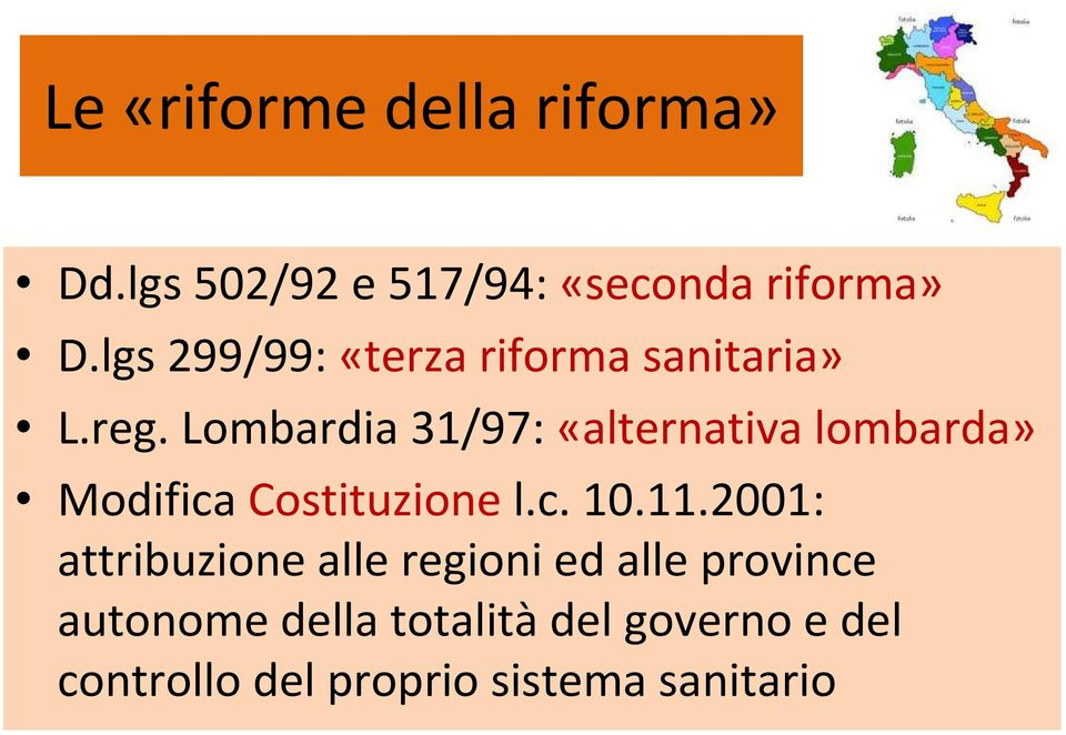 Lombardia 31/97: «alternativa lombarda» Modifica Costituzione l.c. 10.11.