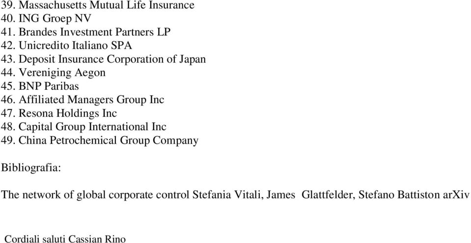 Affiliated Managers Group Inc 47. Resona Holdings Inc 48. Capital Group International Inc 49.