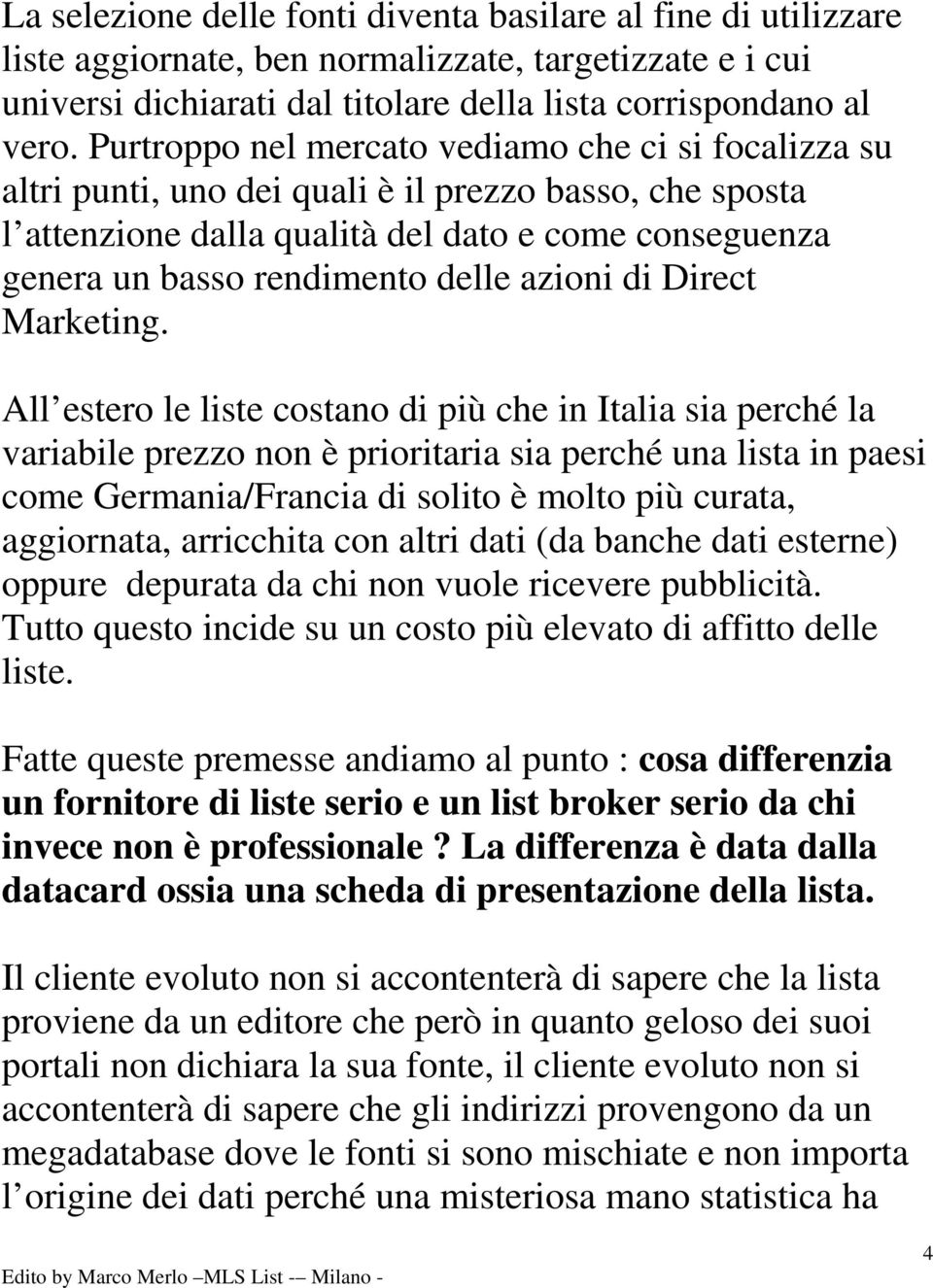 azioni di Direct Marketing.