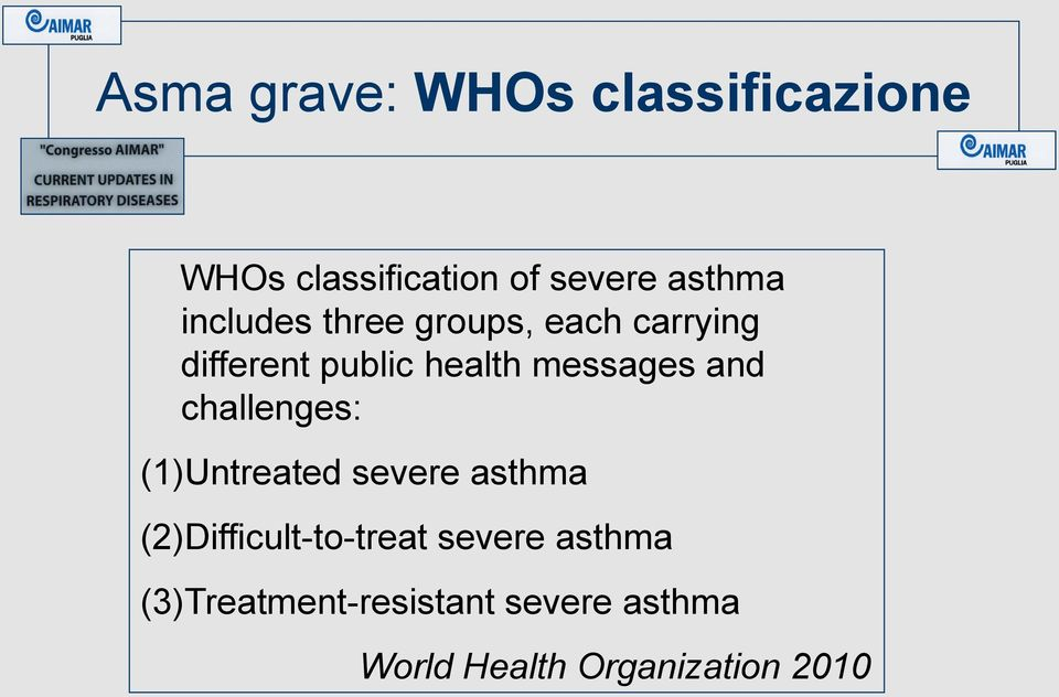 and challenges: (1)Untreated severe asthma (2)Difficult-to-treat severe