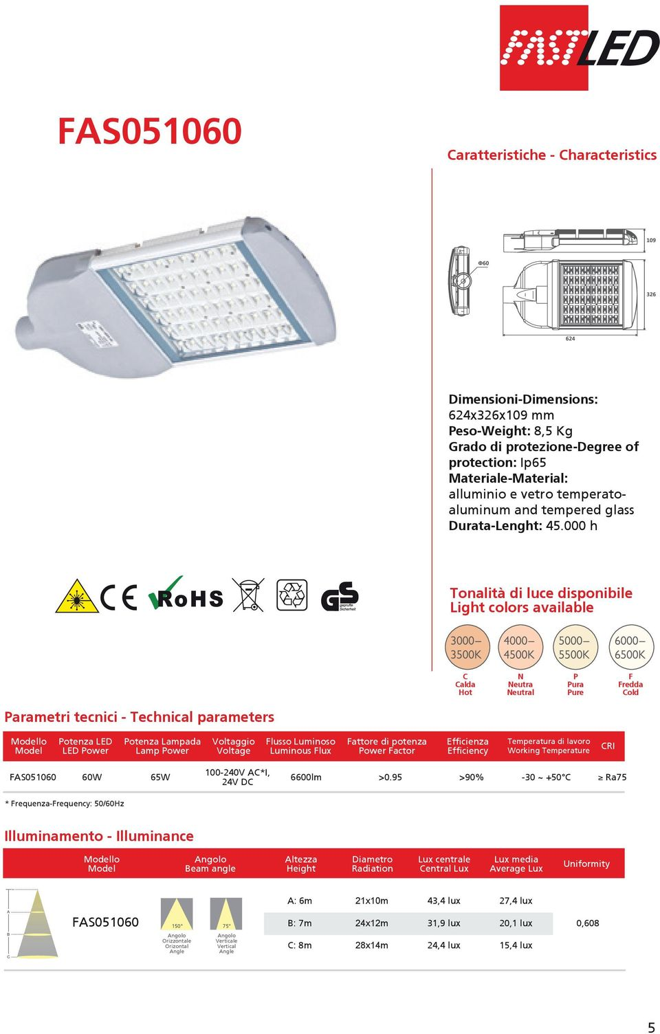 000 h Tonalità di luce disponibile Light colors available C Calda Hot N Neutra Neutral P Pura Pure F Fredda Cold Parametri tecnici - Technical parameters Potenza LED LED Power Potenza Lampada Lamp