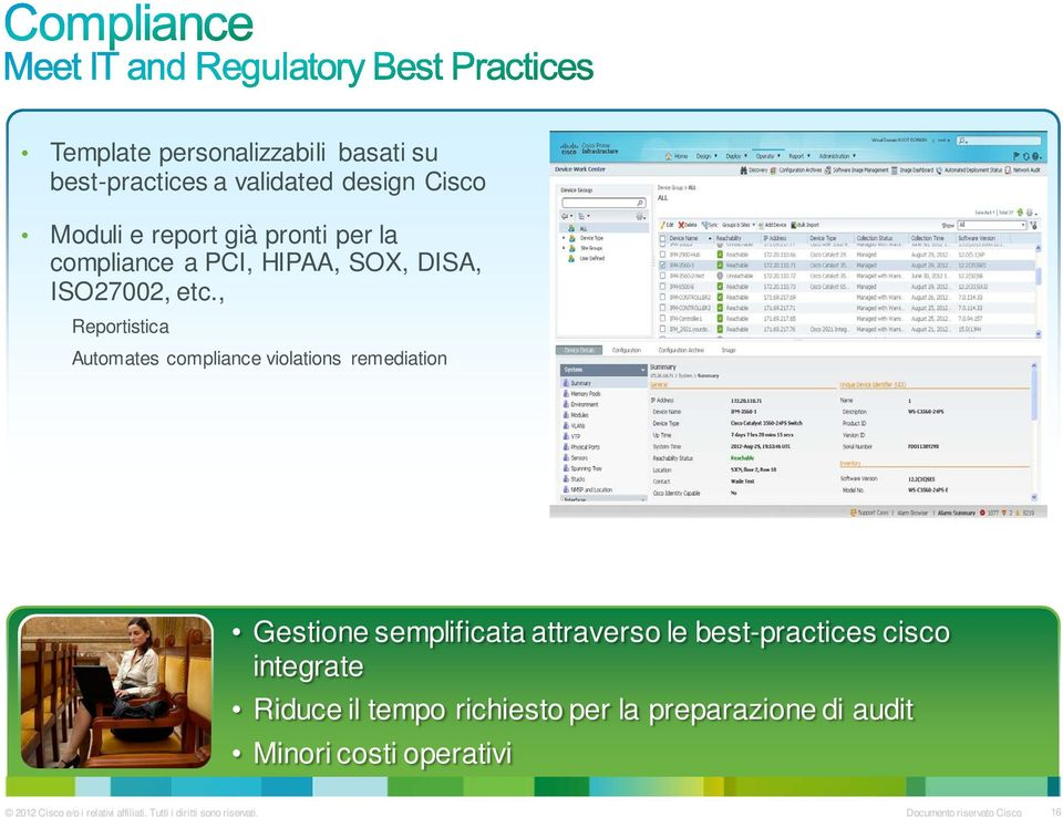 , Reportistica Automates compliance violations remediation Gestione semplificata attraverso le best-practices cisco