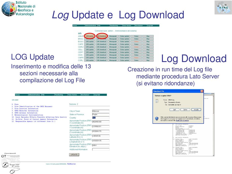 del Log File Log Download Creazione in run time del Log