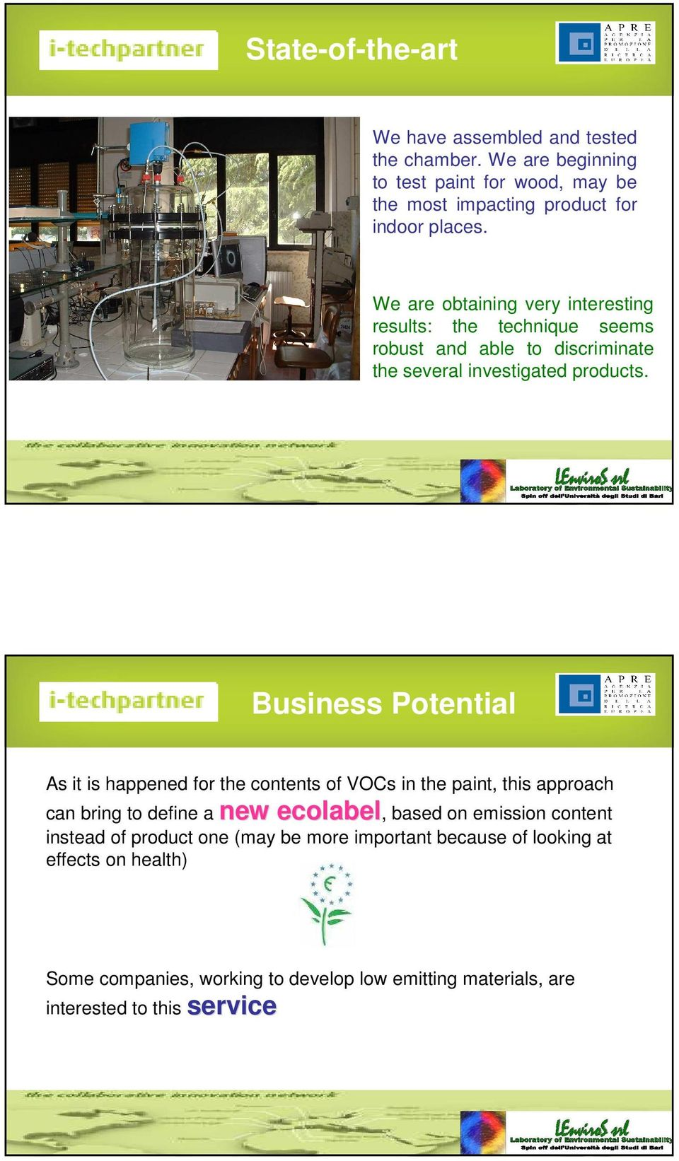 Business Potential As it is happened for the contents of VOCs in the paint, this approach can bring to define a new ecolabel, based on emission content