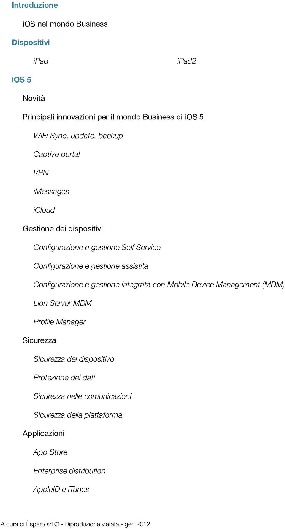 gestione integrata con Mobile Device Management (MDM) Lion Server MDM Profile Manager Sicurezza Sicurezza del dispositivo Protezione dei dati Sicurezza