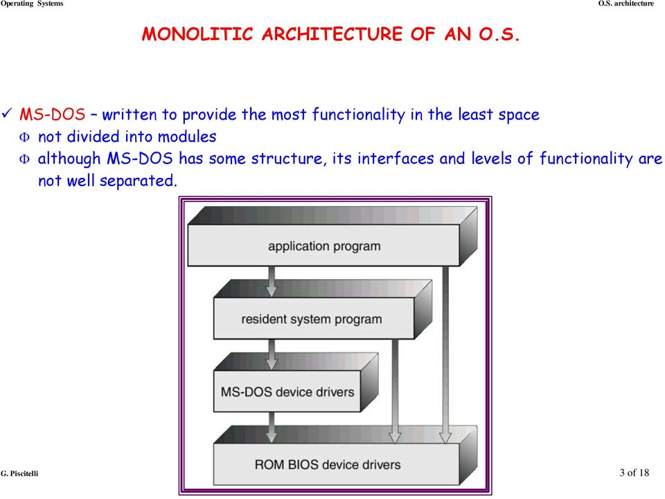 not divided into modules although MS-DOS has some structure, its