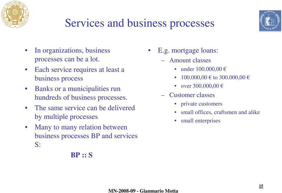 The same service can be delivered by multiple processes Many to many relation between business processes BP and services S: BP