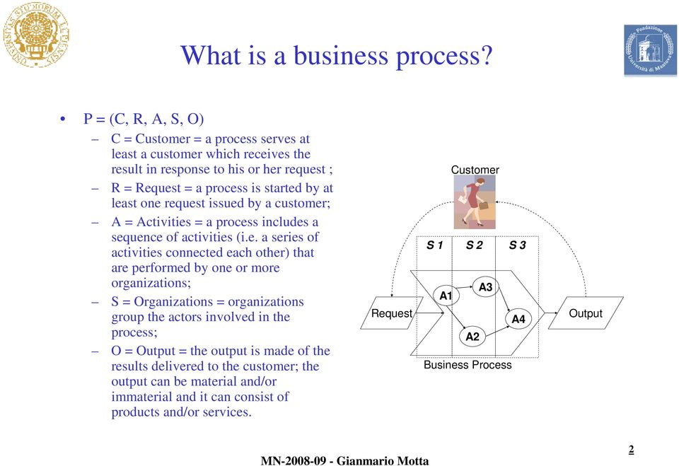 least one request issued by a customer; A = Activities = a process includes a sequence of activities (i.e. a series of activities connected each other) that are performed by one