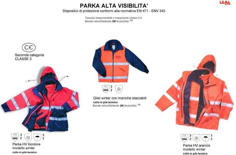 3 Gilet winter con maniche staccabili collo in pile termico Banda retroriflettente 3M Scotchlite TM
