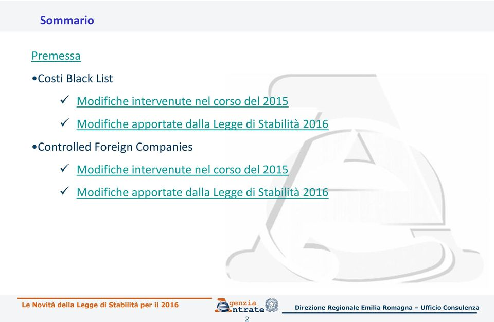 2016 Controlled Foreign Companies Modifiche intervenute nel