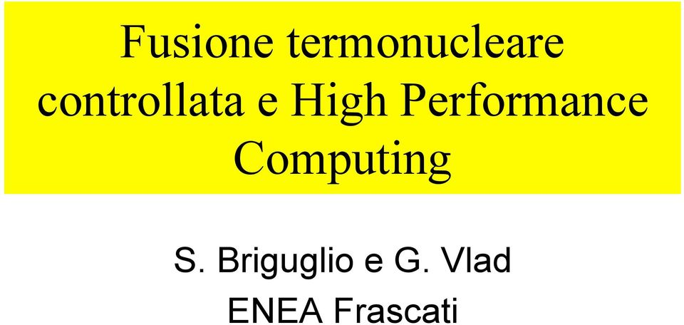 Performance Computing S.