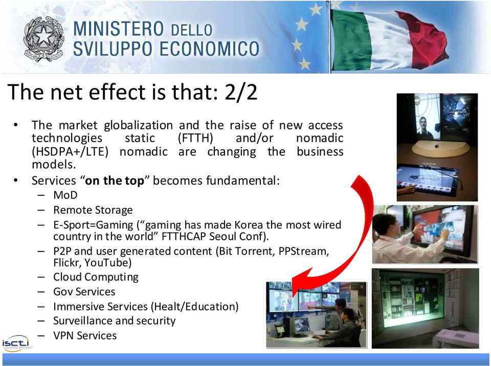 Services on the top becomes fundamental: MoD Remote Storage E-Sport=Gaming ( gaming has made Korea the most wired country in