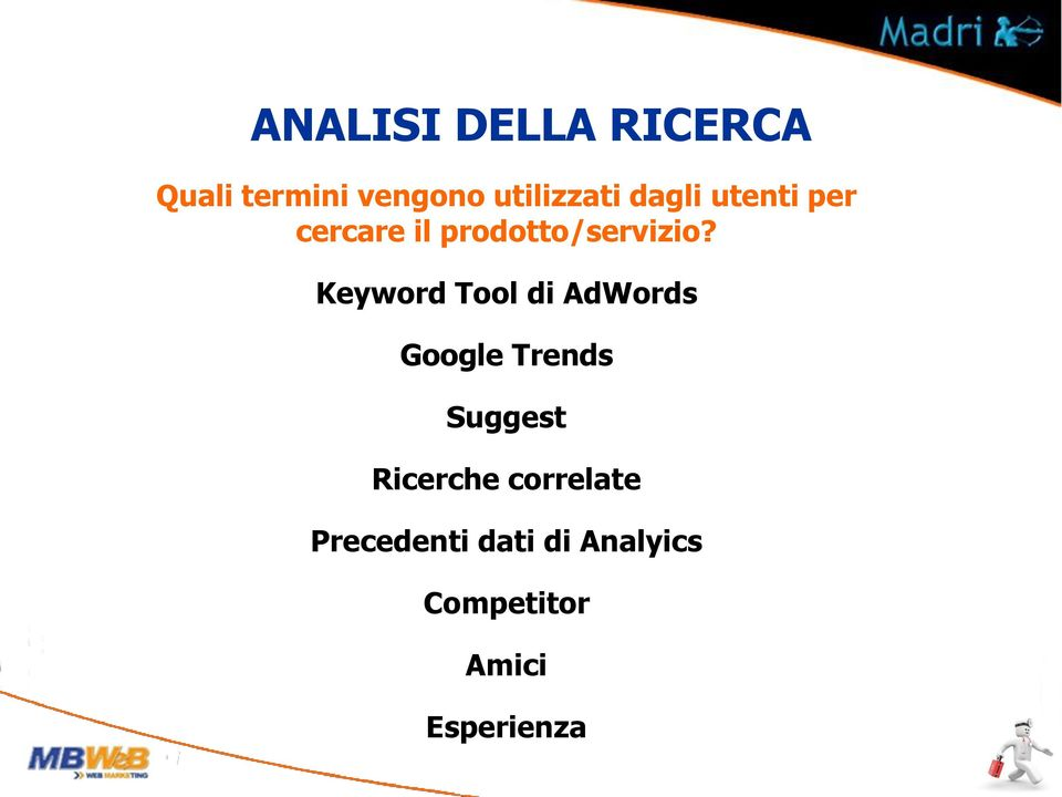 Keyword Tool di AdWords Google Trends Suggest Ricerche