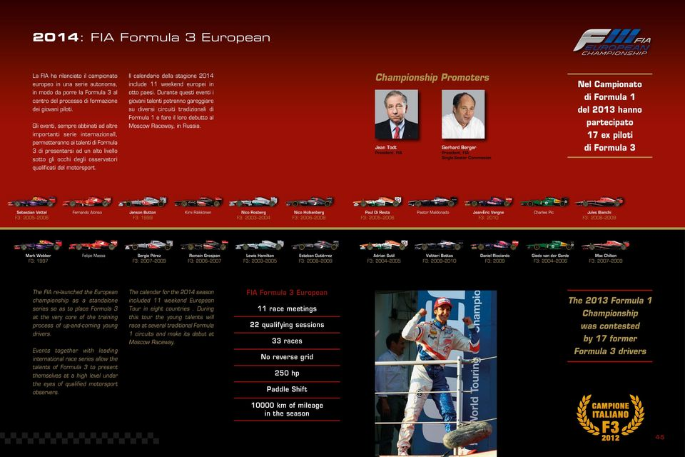 motorsport. Il calendario della stagione 2014 include 11 weekend europei in otto paesi.