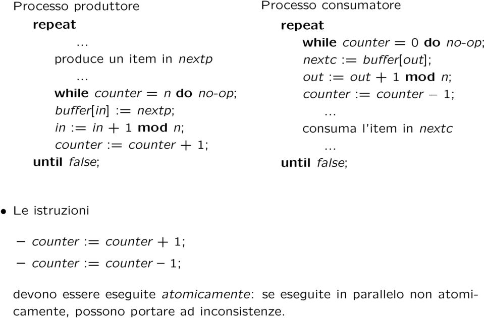 consumatore repeat while counter = 0 do no-op; nextc := buffer[out]; out := out + 1 mod n; counter := counter 1;.