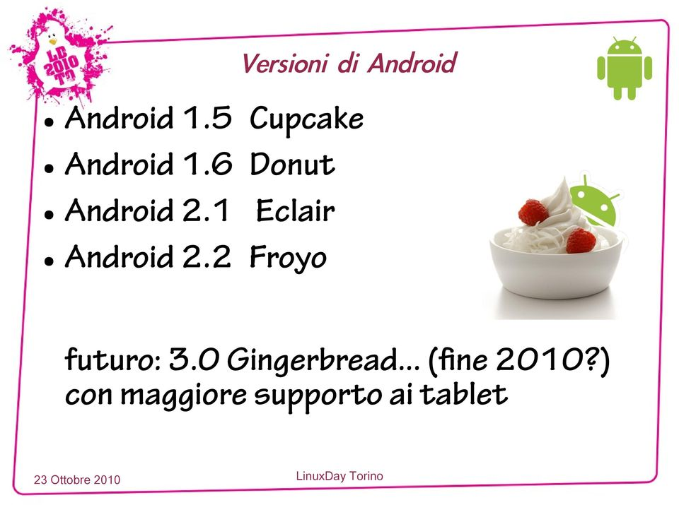 1 Eclair Android 2.2 Froyo futuro: 3.
