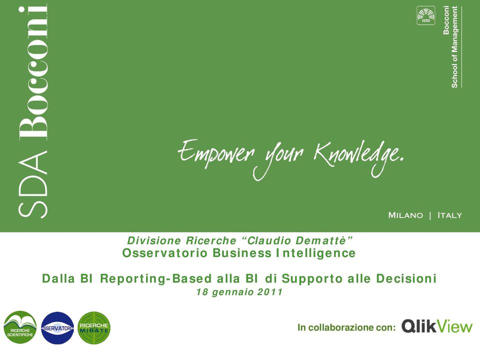 BI Reporting-Based alla BI di Supporto