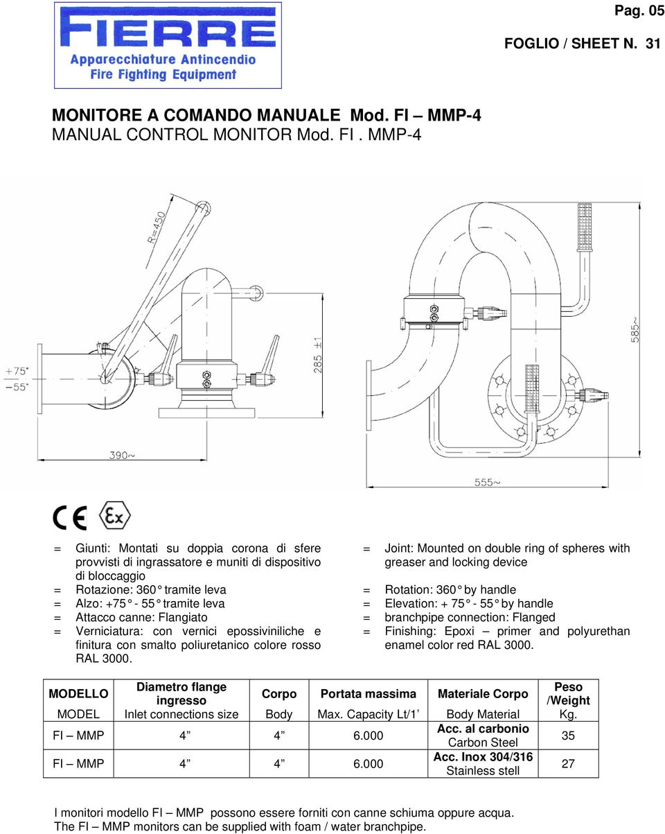MMP-4 = Giunti: Montati su doppia corona di sfere provvisti di ingrassatore e muniti di dispositivo di bloccaggio = Joint: Mounted on double ring of spheres with greaser and locking device =