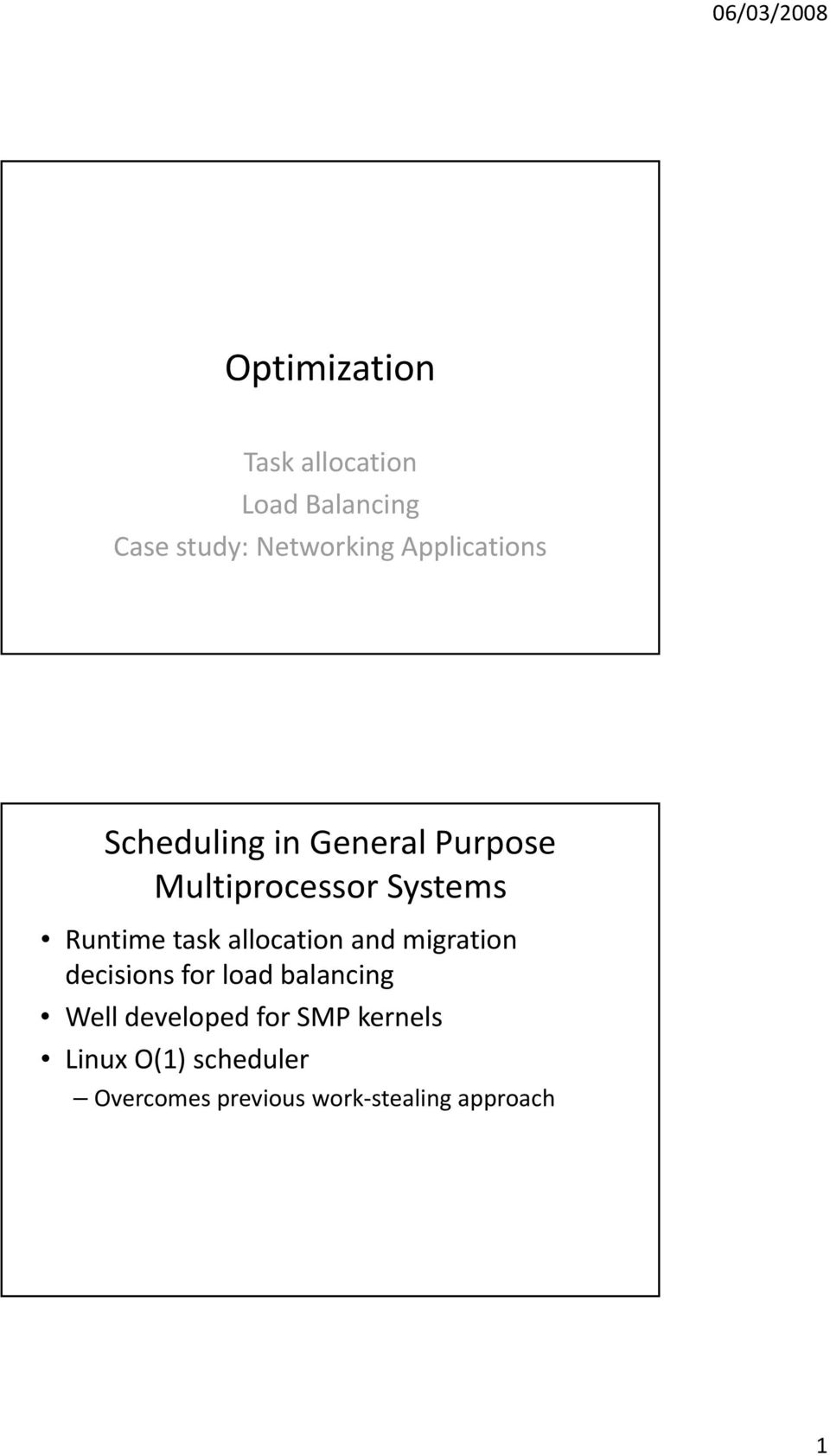 task allocation and migration decisions i for load dbl balancing Well