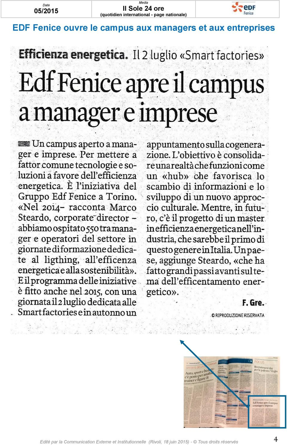 nationale) EDF Fenice ouvre le