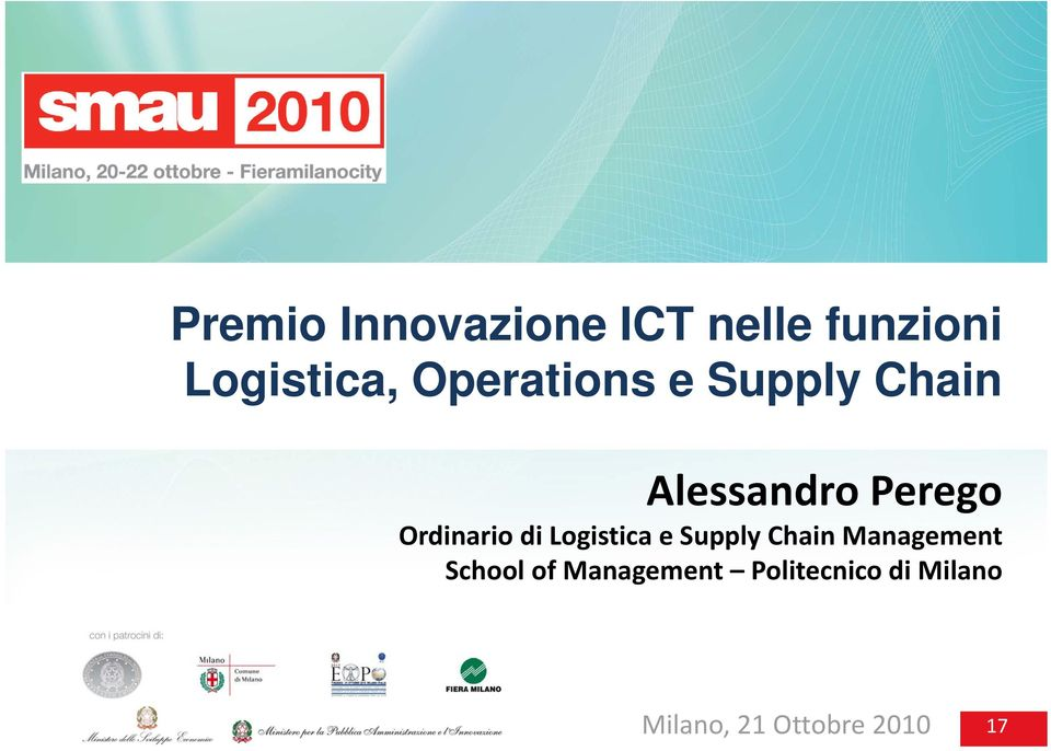 Ordinario di Logistica e Supply Chain Management