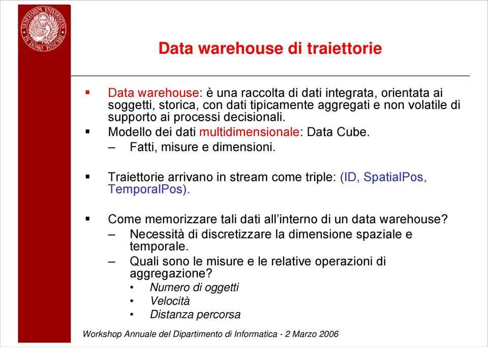 Traiettorie arrivano in stream come triple: (ID, SpatialPos, TemporalPos). Come memorizzare tali dati all interno di un data warehouse?