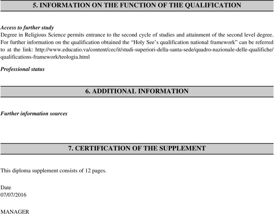 For further information on the qualification obtained the Holy See s qualification national framework can be referred to at the link: http://www.educatio.
