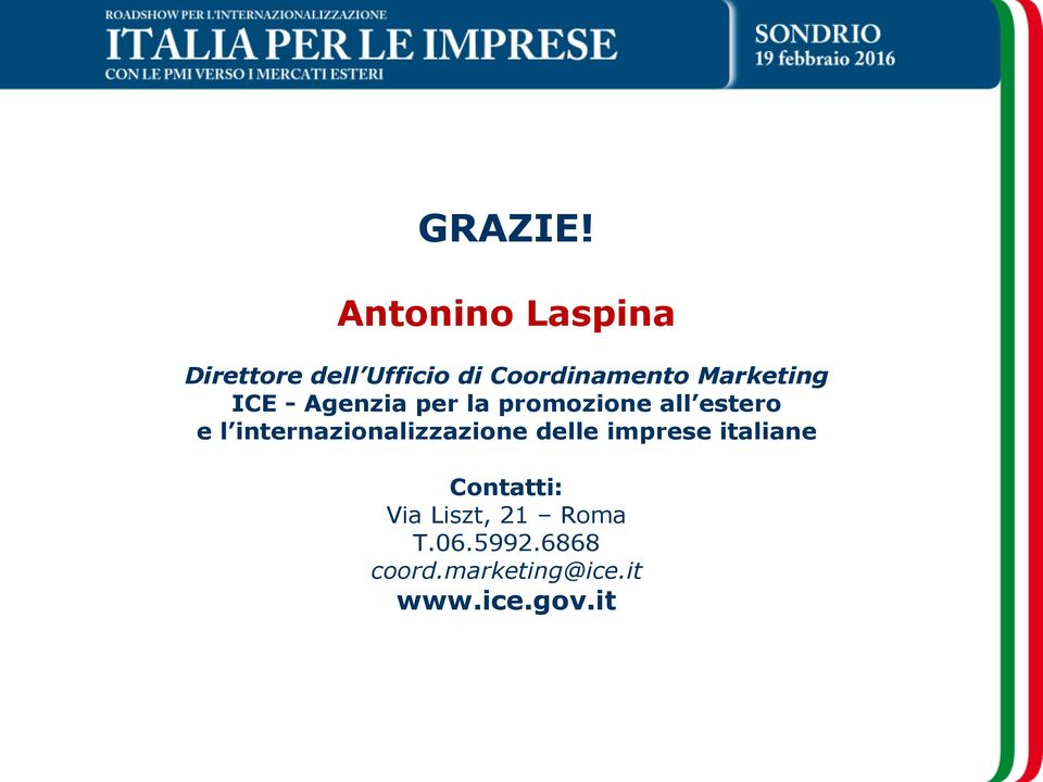 Marketing ICE - Agenzia per la promozione all estero e l