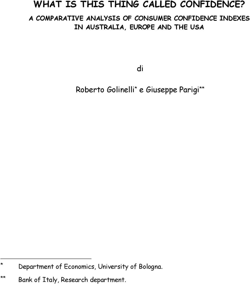 AUSTRALIA, EUROPE AND THE USA di Roberto Golinelli * e Giuseppe