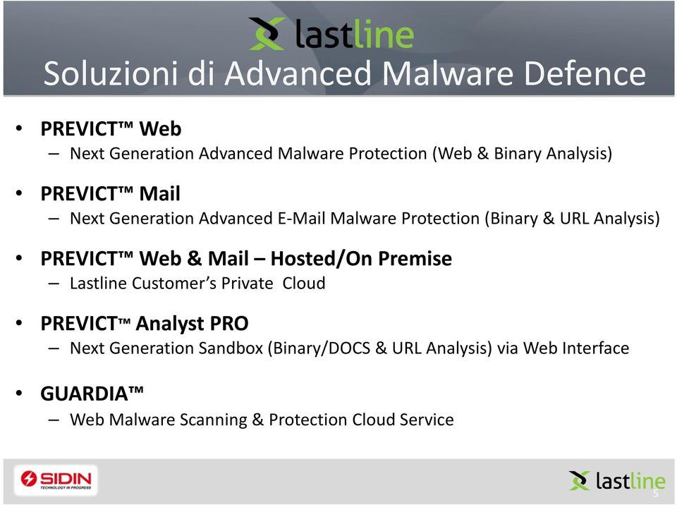 PREVICT Web & Mail Hosted/On Premise Lastline Customer s Private Cloud PREVICT Analyst PRO Next Generation