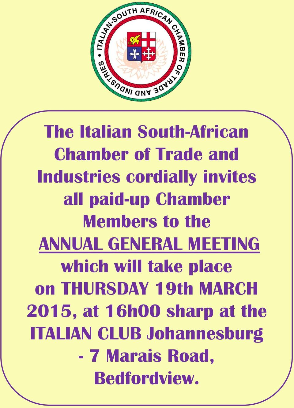 GENERAL MEETING which will take place on THURSDAY 19th MARCH