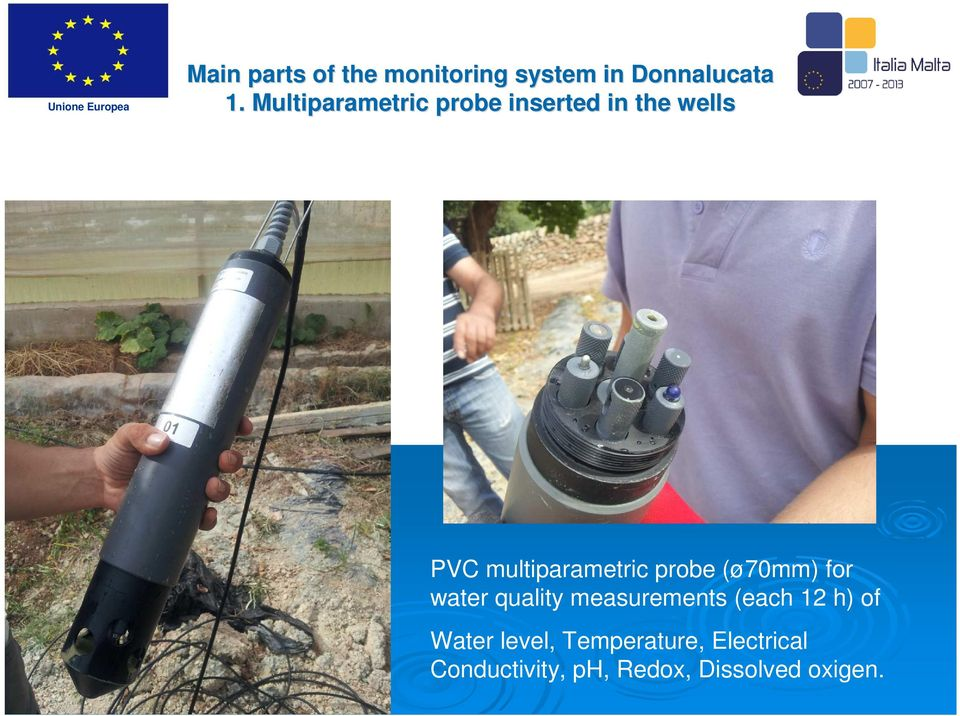 probe (ø70mm) for water quality measurements (each 12 h) of Water