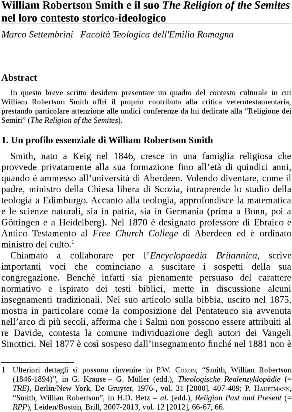 dedicate alla Religione dei Semiti (The Religion of the Semites). 1.