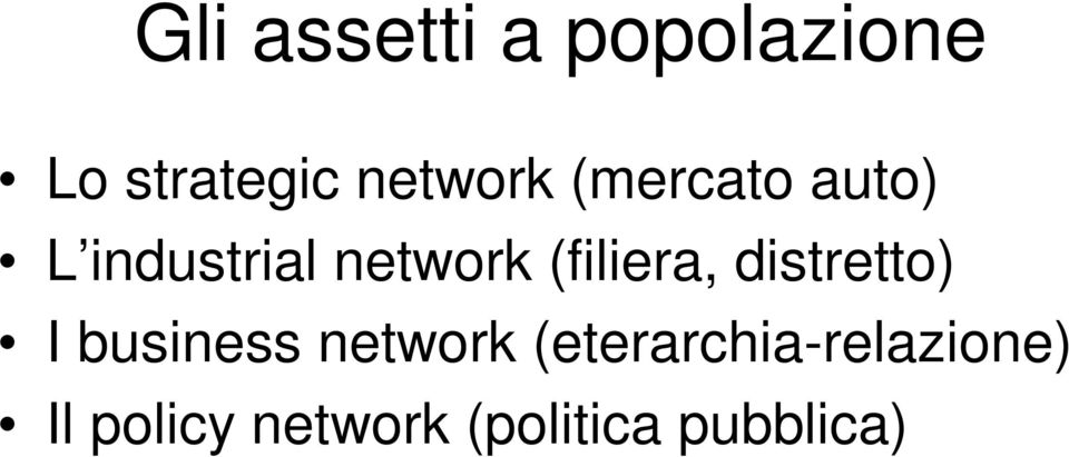 (filiera, distretto) I business network