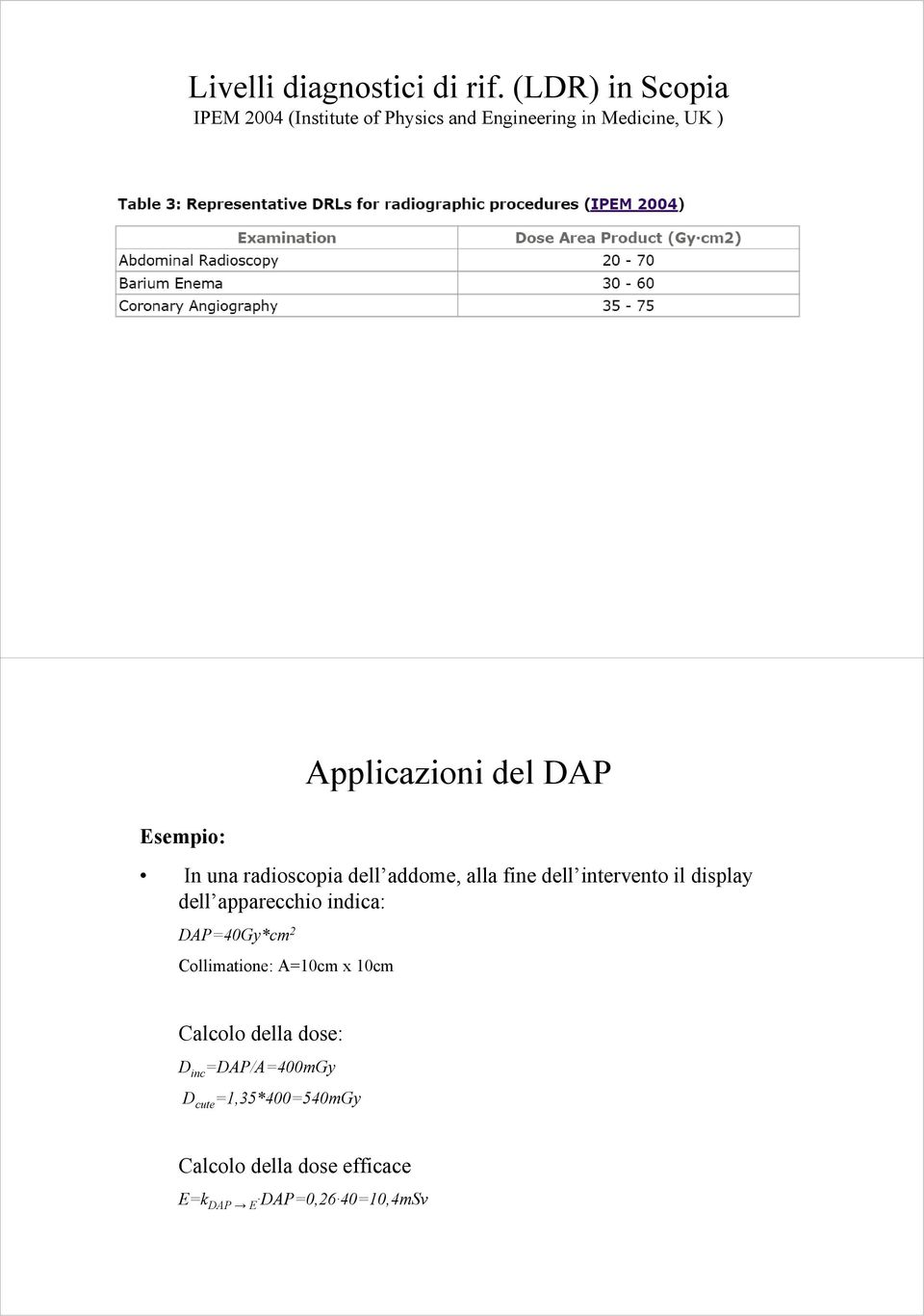 Applicazioni del DAP In una radioscopia dell addome, alla fine dell intervento il display dell
