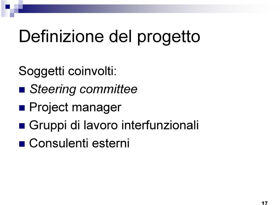 Project manager Gruppi di lavoro