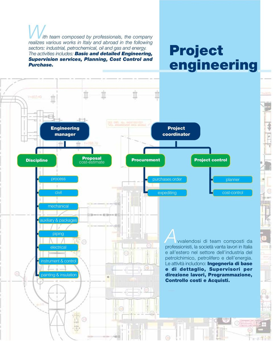 Project engineering Engineering manager Project coordinator Discipline Proposal cost-estimate Procurement Project control process purchases order planner civil expediting cost-control mechanical