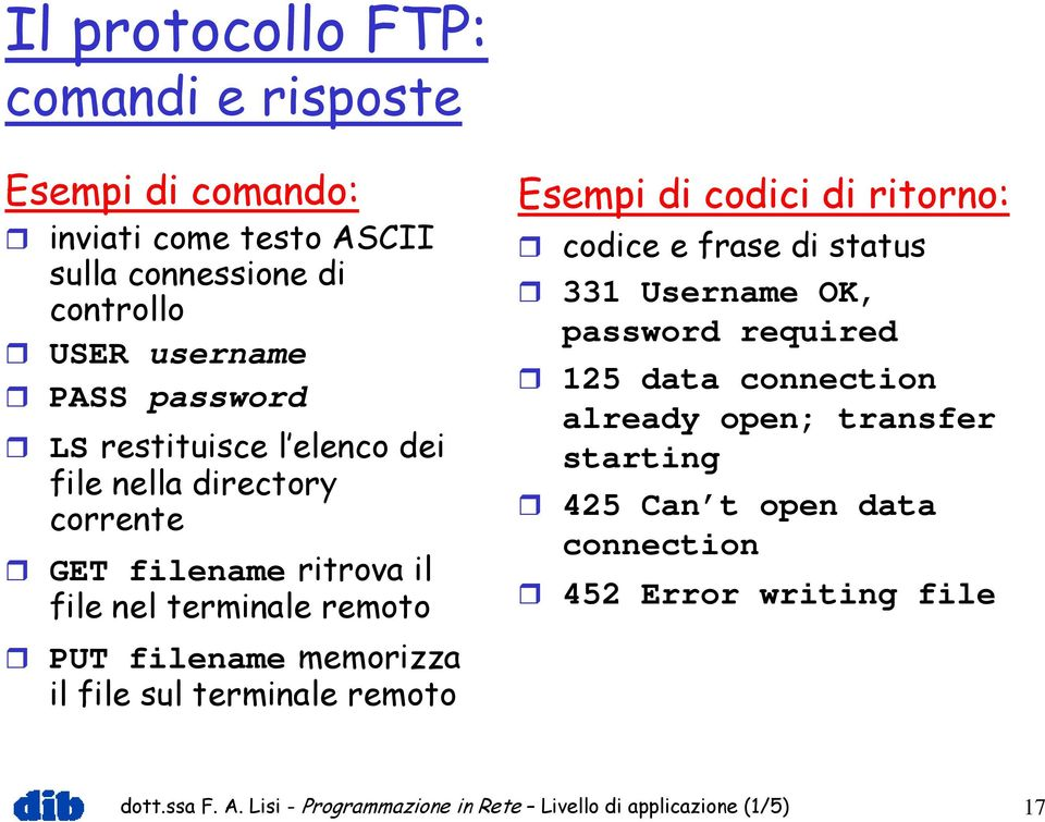 terminale remoto Esempi di codici di ritorno: codice e frase di status 331 Username OK, password required 125 data connection already open;