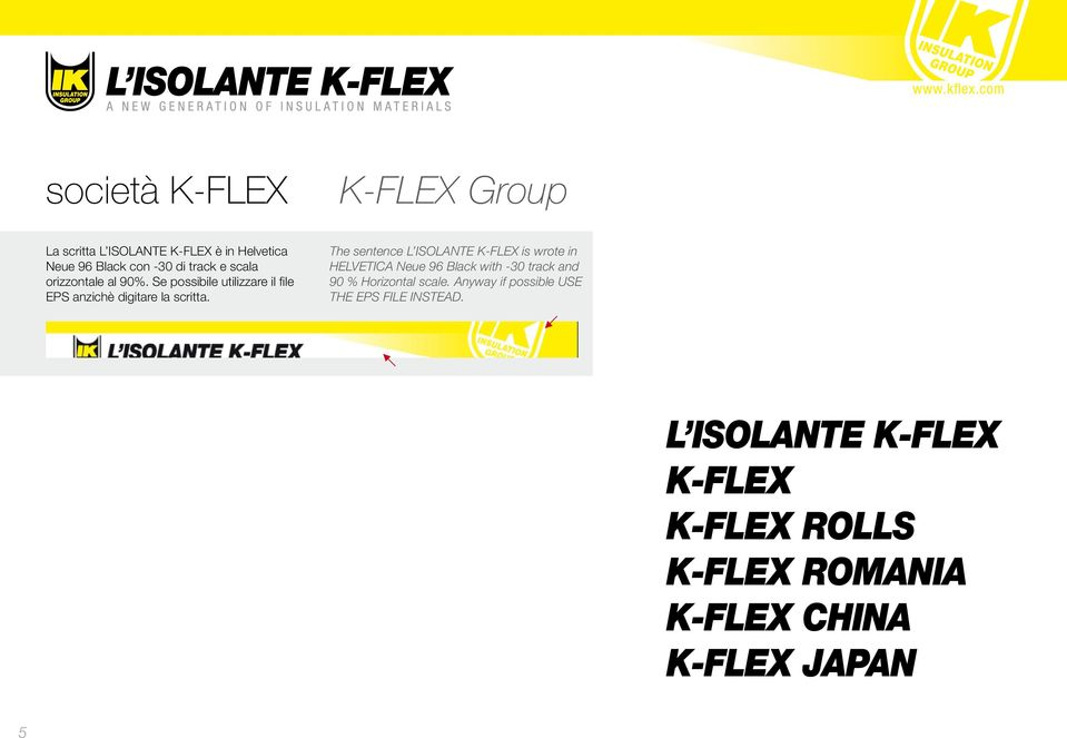 The sentence L ISOLANTE K-FLEX is wrote in HELVETICA Neue 96 Black with -30 track and 90 % Horizontal scale.