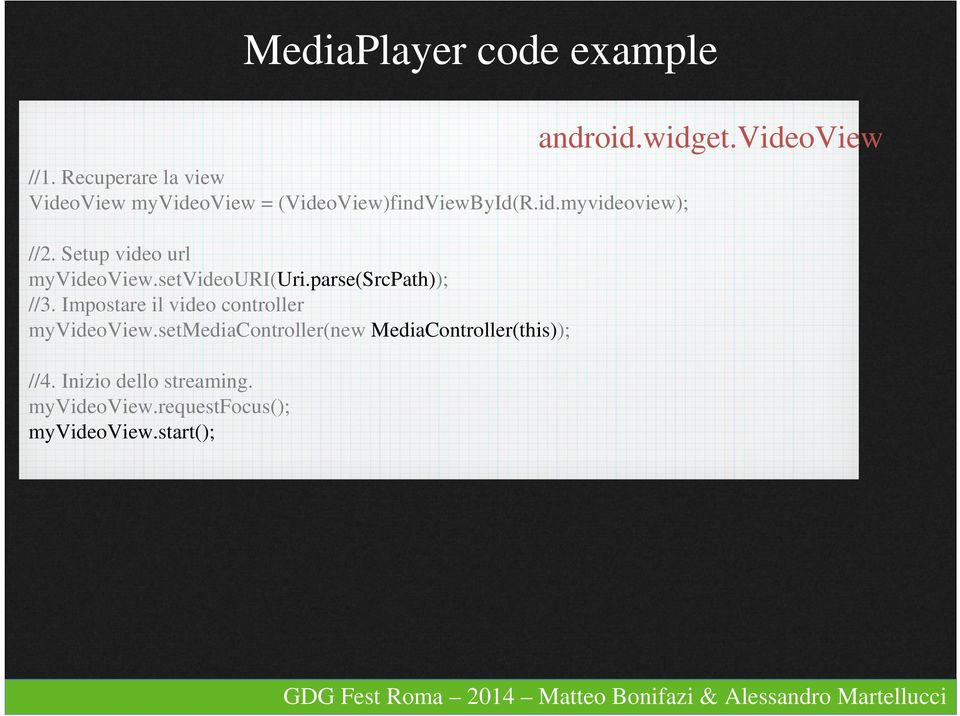 Setup video url myvideoview.setvideouri(uri.parse(srcpath)); //3.