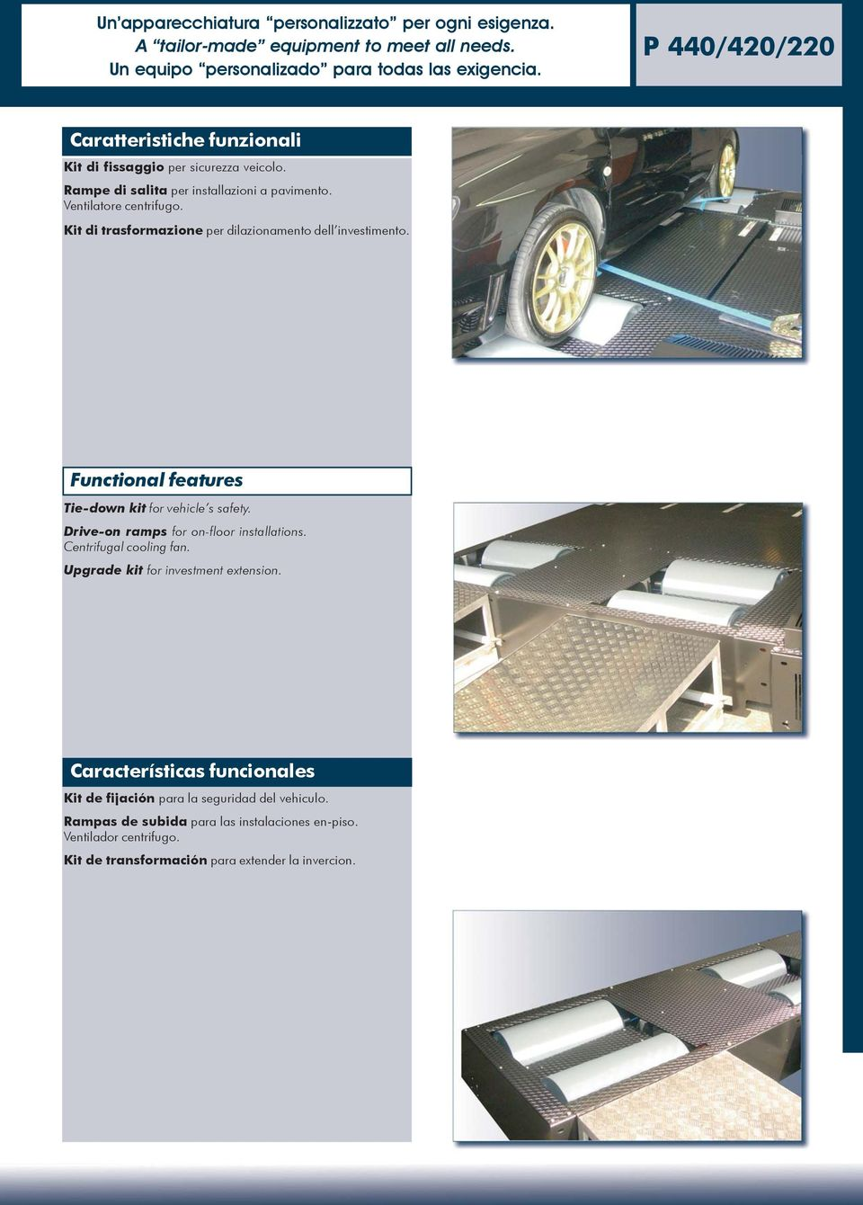 Kit di trasformazione per dilazionamento dell investimento. Functional features Tie-down kit for vehicle s safety. Drive-on ramps for on-floor installations.