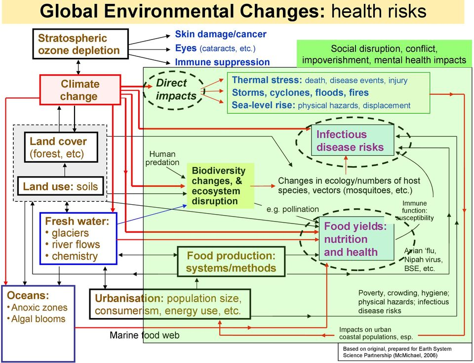 events, injury Storms, cyclones, floods, fires Sea-level rise: physical hazards, displacement Infectious disease risks Biodiversity changes, & ecosystem disruption Changes in ecology/numbers of host