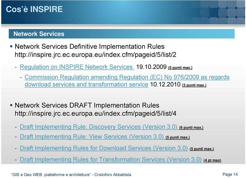 ) Network Services DRAFT Implementation Rules http://inspire.jrc.ec.europa.eu/index.cfm/pageid/5/list/4 - Draft Implementing Rule: Discovery Services (Version 3.0) (6 punti max.