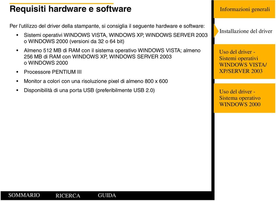 sistema operativo WINDOWS VISTA; almeno 256 MB di RAM con WINDOWS XP, WINDOWS SERVER 2003 o Processore PENTIUM