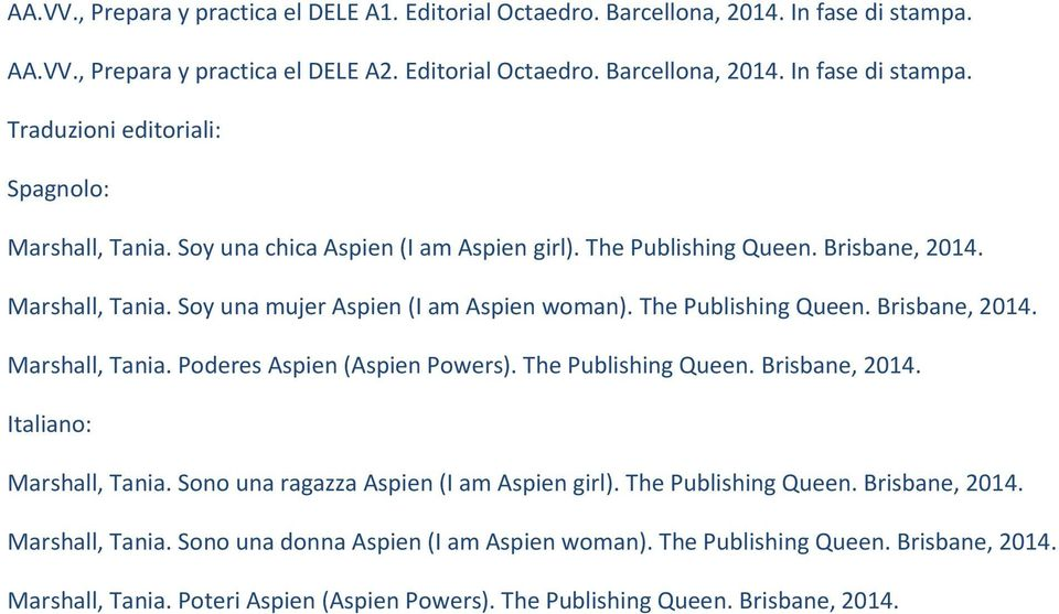 The Publishing Queen. Brisbane, 2014. Italiano: Marshall, Tania. Sono una ragazza Aspien (I am Aspien girl). The Publishing Queen. Brisbane, 2014. Marshall, Tania. Sono una donna Aspien (I am Aspien woman).