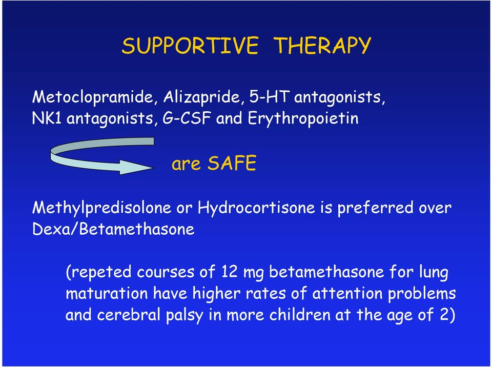 over Dexa/Betamethasone (repeted courses of 12 mg betamethasone for lung maturation