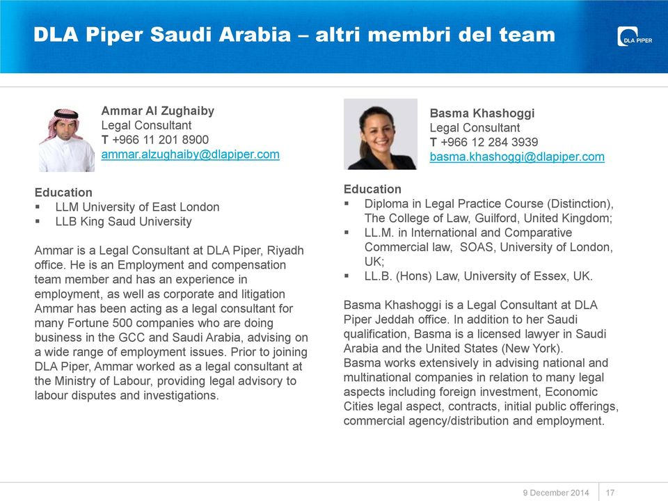 He is an Employment and compensation team member and has an experience in employment, as well as corporate and litigation Ammar has been acting as a legal consultant for many Fortune 500 companies
