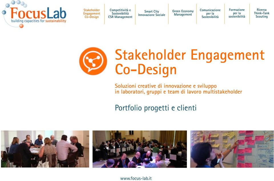 Ricerca Think-Tank Scouting Stakeholder Engagement Co-Design Soluzioni creative di